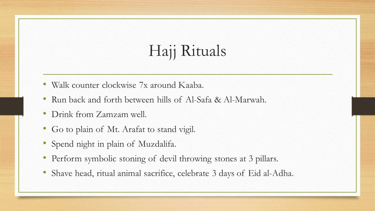 Hajj Rituals Walk counter clockwise 7x around Kaaba.
