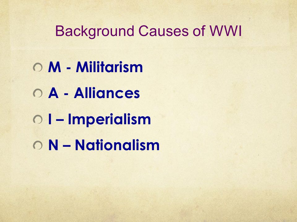 Background Causes of WWI