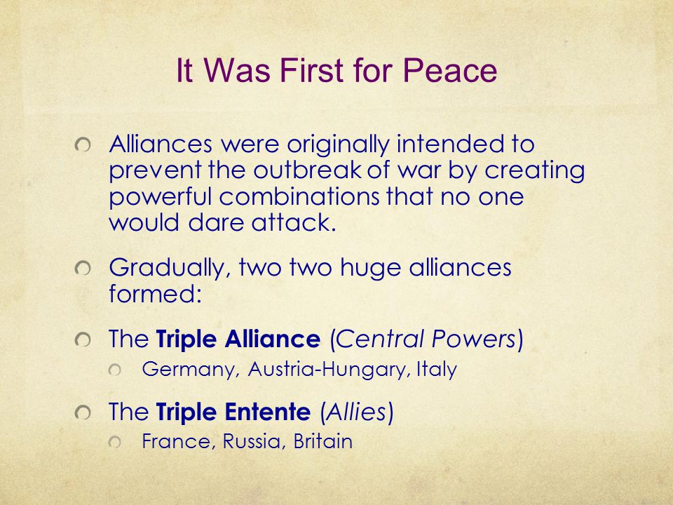 It Was First for Peace