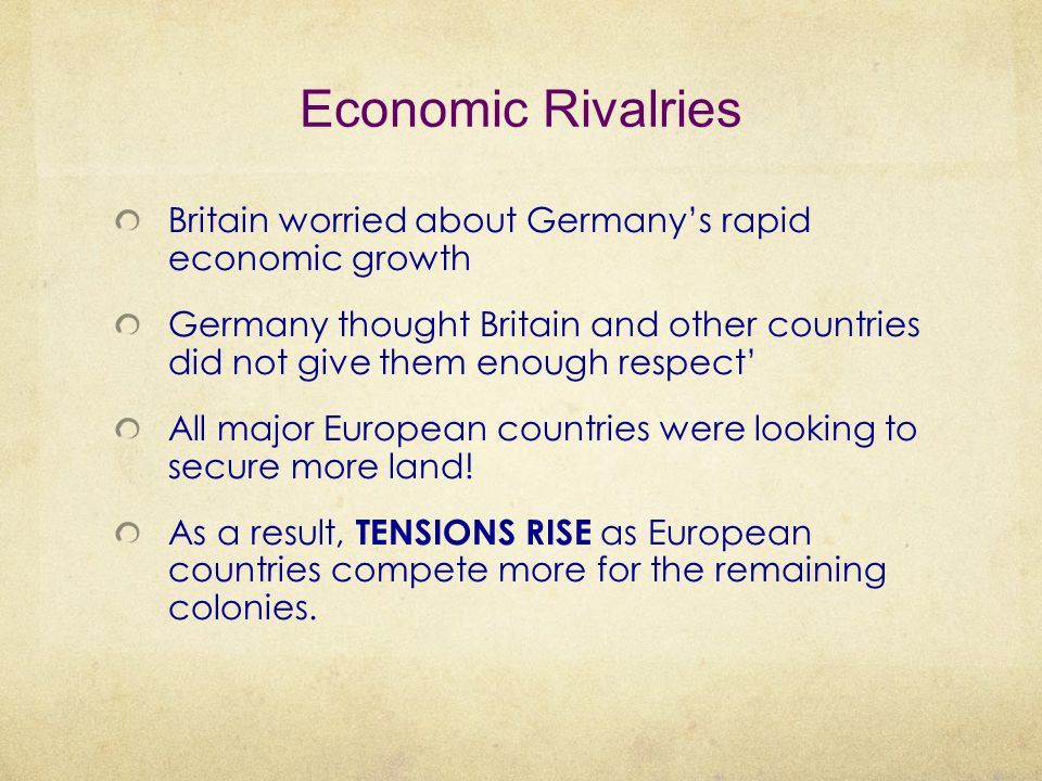 Economic Rivalries Britain worried about Germany's rapid economic growth.