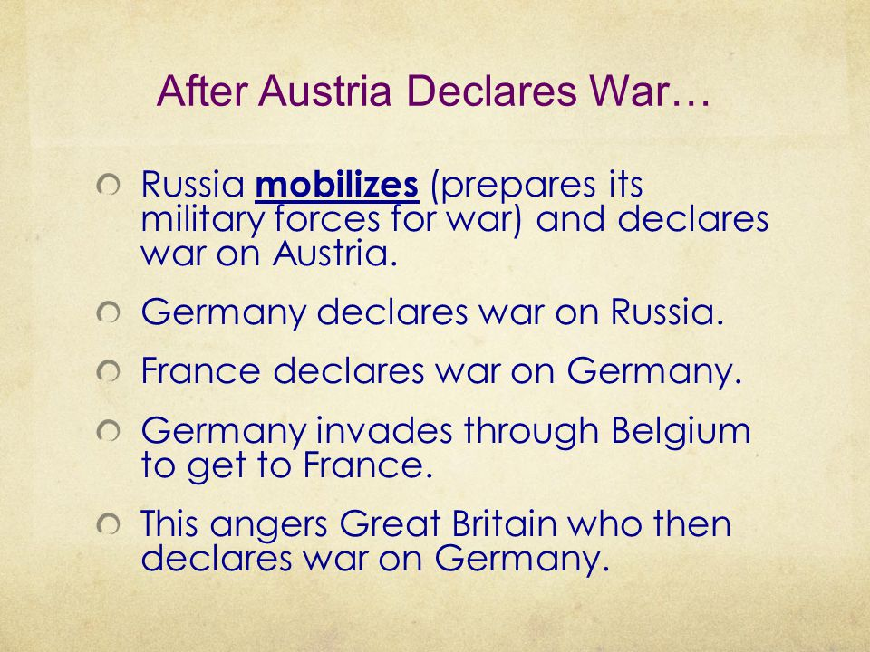 After Austria Declares War…