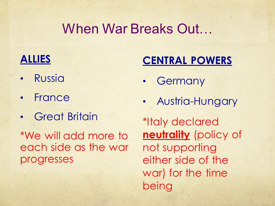 When War Breaks Out… ALLIES Russia France Great Britain