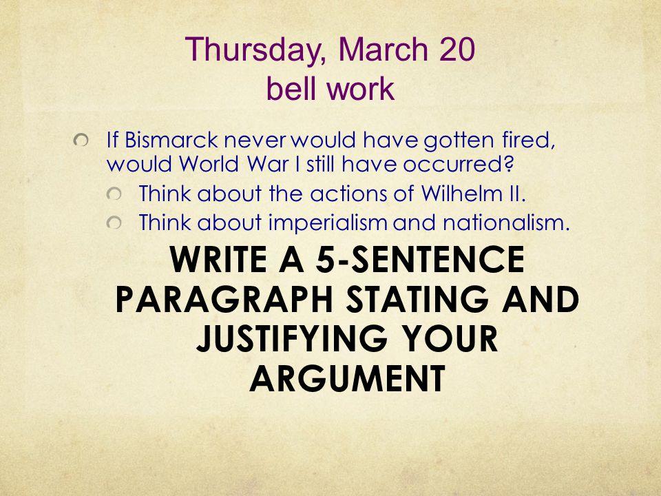 Thursday, March 20 bell work