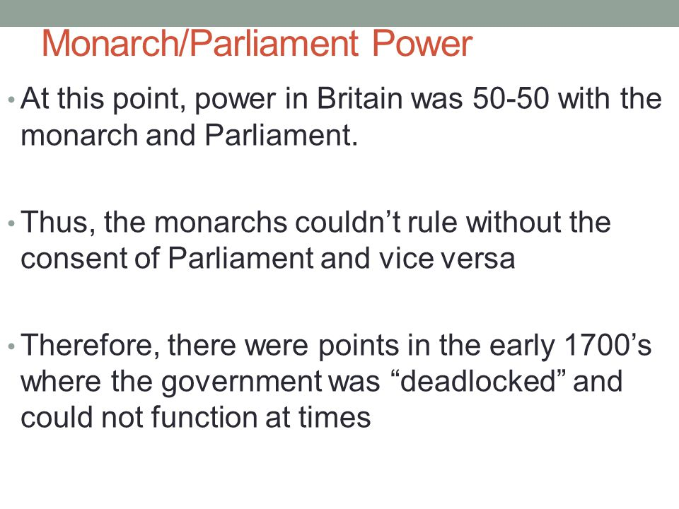 Monarch/Parliament Power
