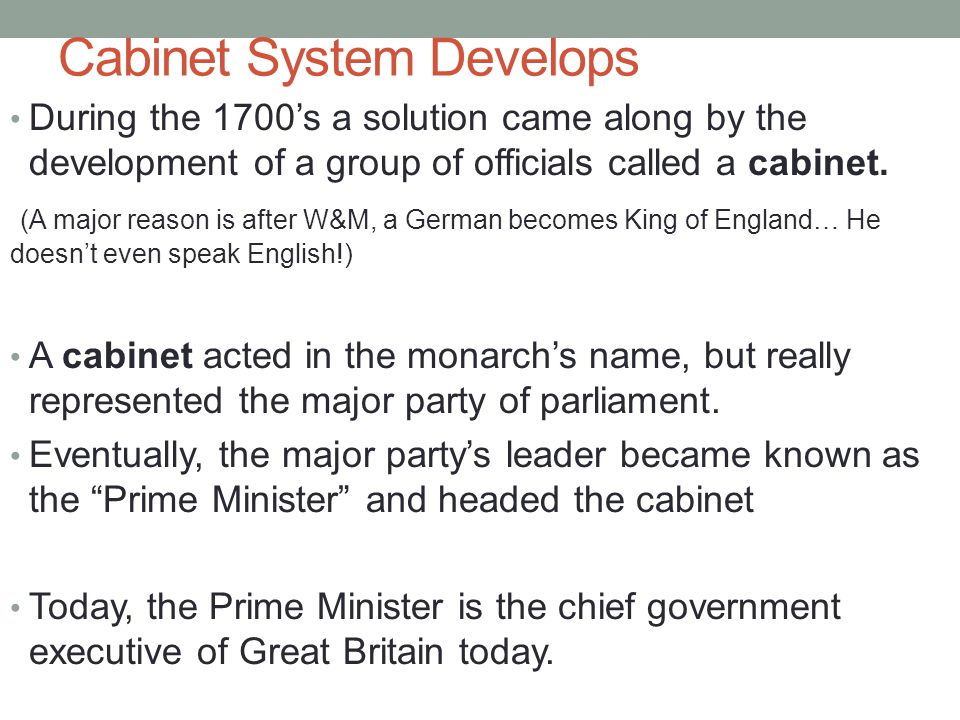 Cabinet System Develops