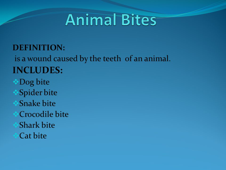 Animal Bites INCLUDES: DEFINITION: