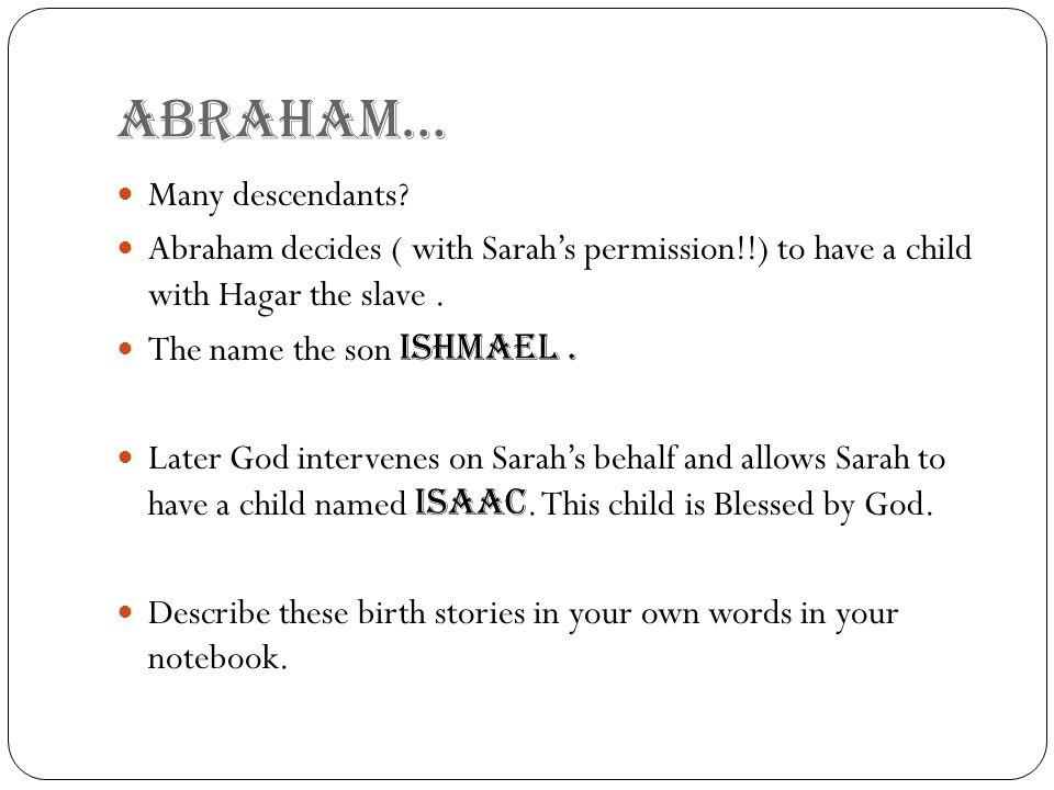 ABRAHAM… Many descendants
