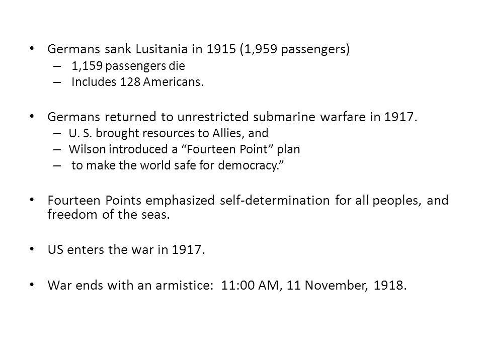 Germans sank Lusitania in 1915 (1,959 passengers)