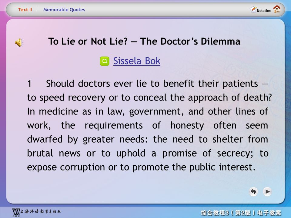 To Lie or Not Lie — The Doctor's Dilemma