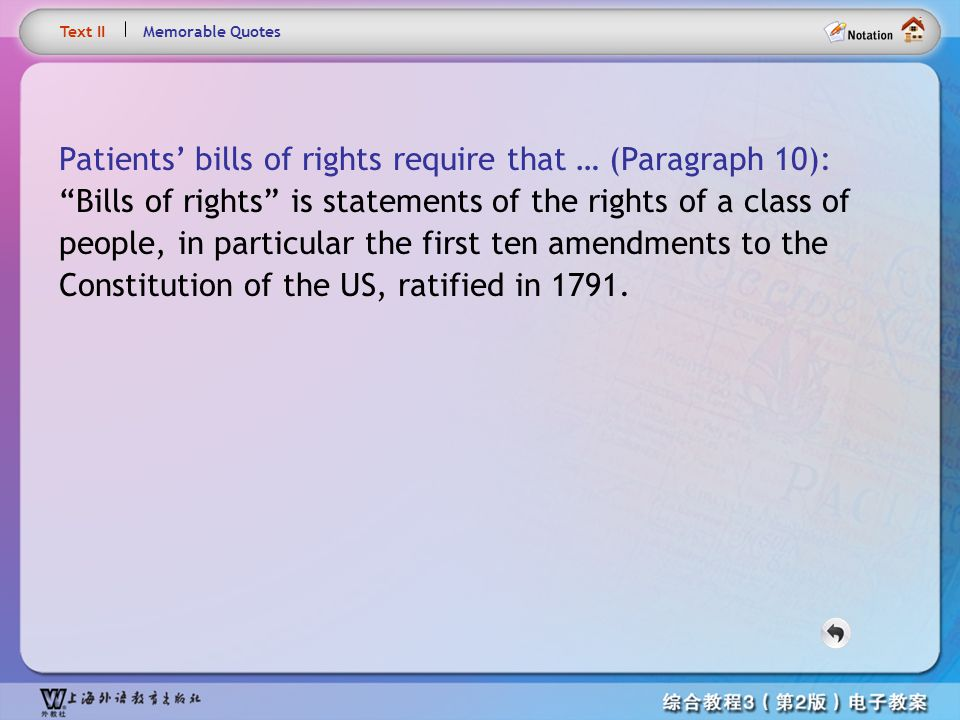 Text10– Patients' bills of rights