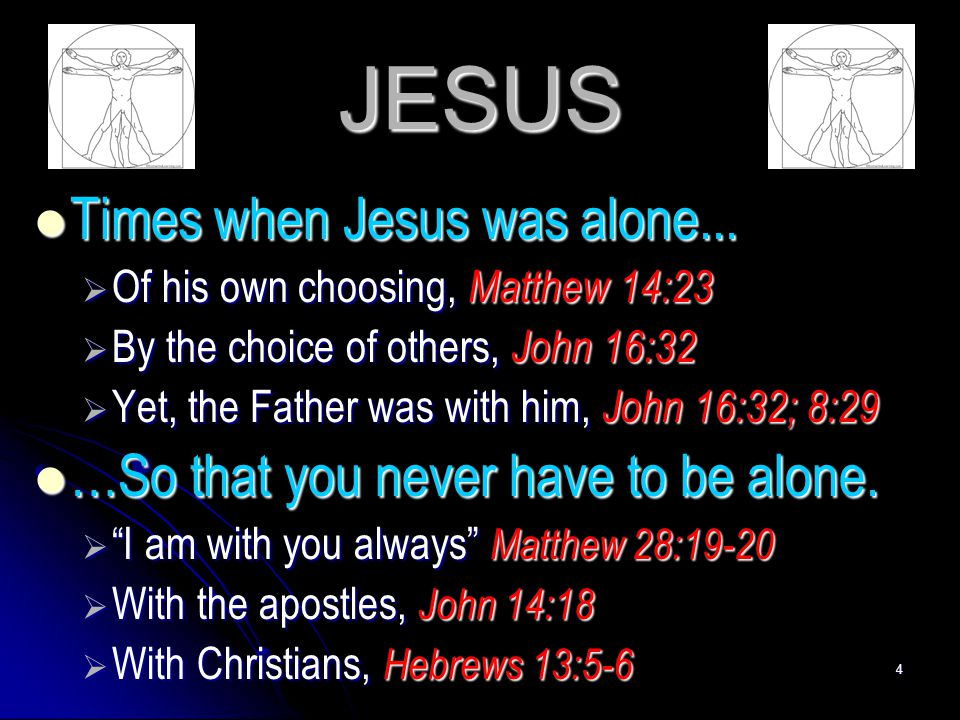 JESUS Times when Jesus was alone...