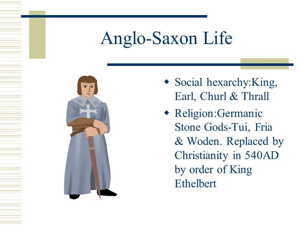 Anglo-Saxon Life Social hexarchy:King, Earl, Churl & Thrall