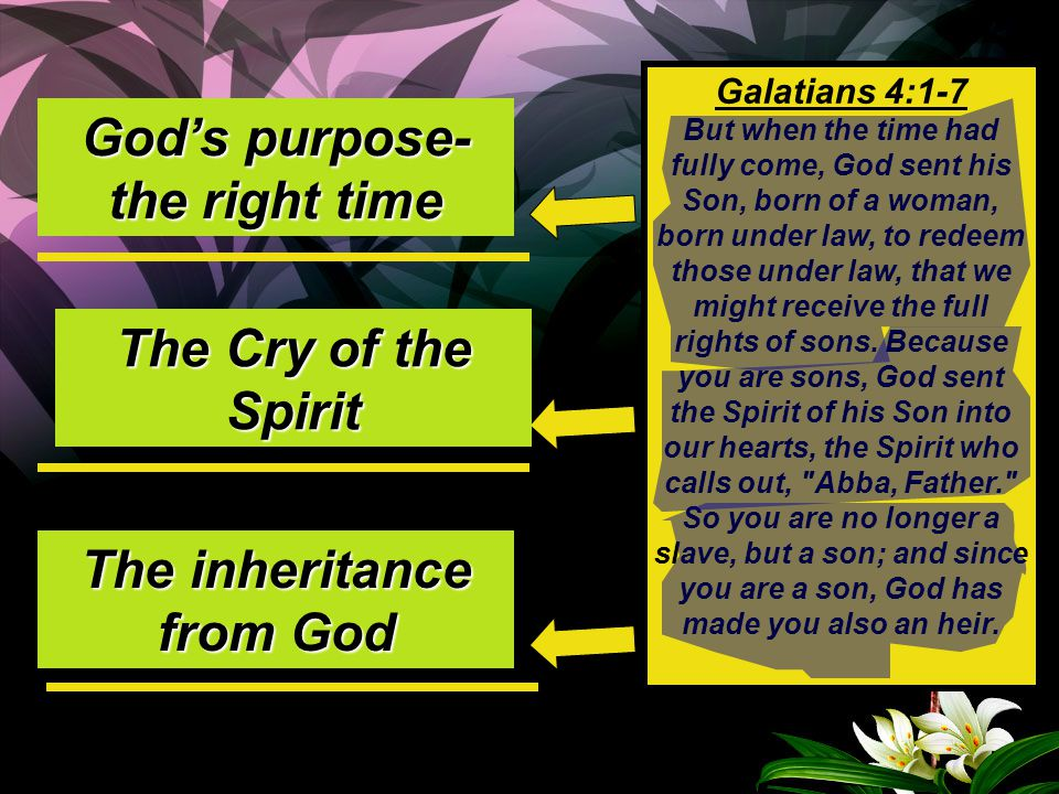 God's purpose-the right time The inheritance from God