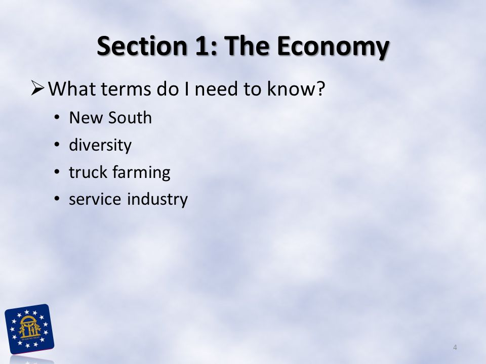 Section 1: The Economy What terms do I need to know New South