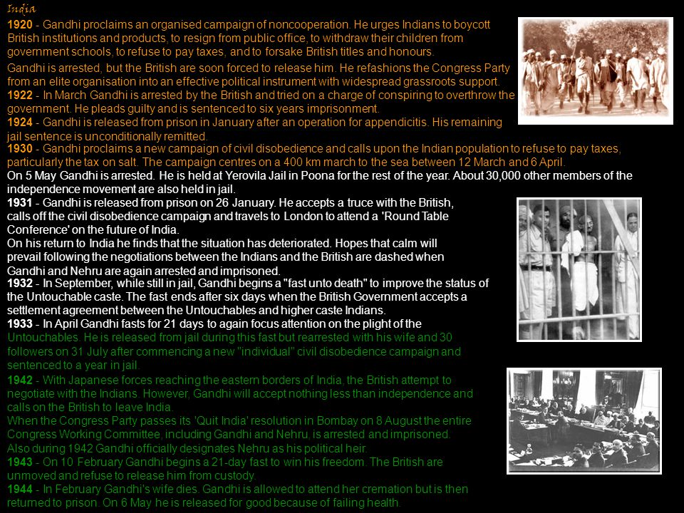 India 1920 - Gandhi proclaims an organised campaign of noncooperation