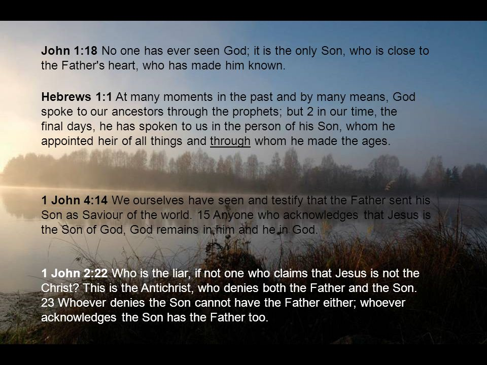 John 1:18 No one has ever seen God; it is the only Son, who is close to the Father s heart, who has made him known.
