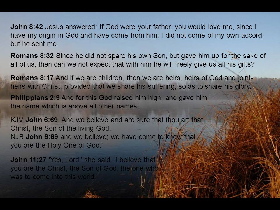 John 8:42 Jesus answered: If God were your father, you would love me, since I have my origin in God and have come from him; I did not come of my own accord, but he sent me.