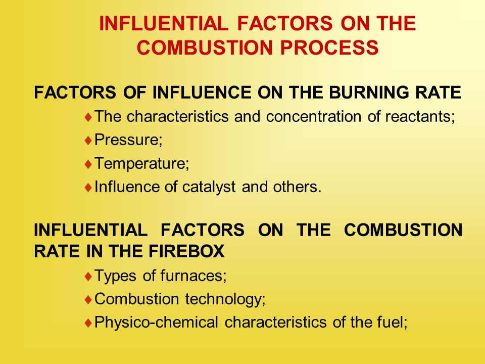 INFLUENTIAL FACTORS ON THE COMBUSTION PROCESS