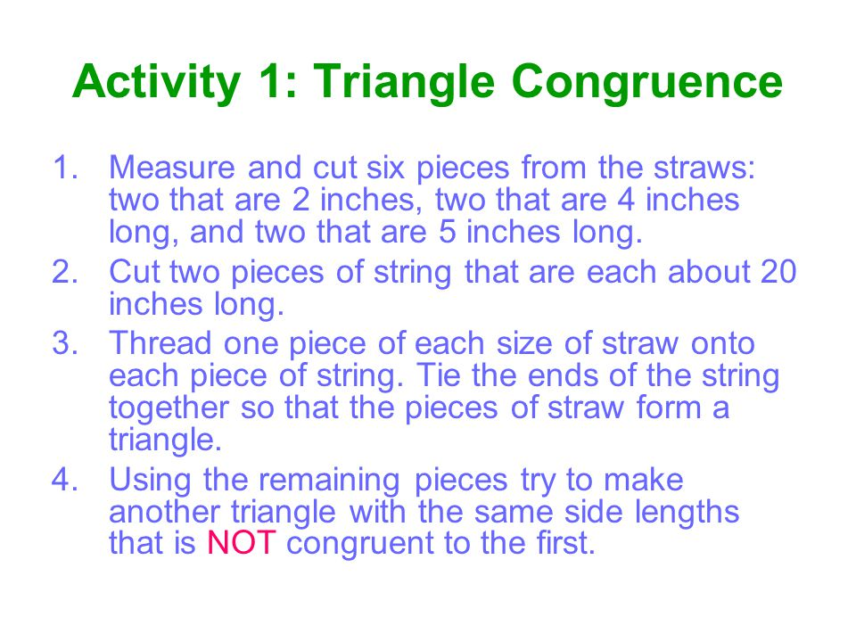 Activity 1: Triangle Congruence