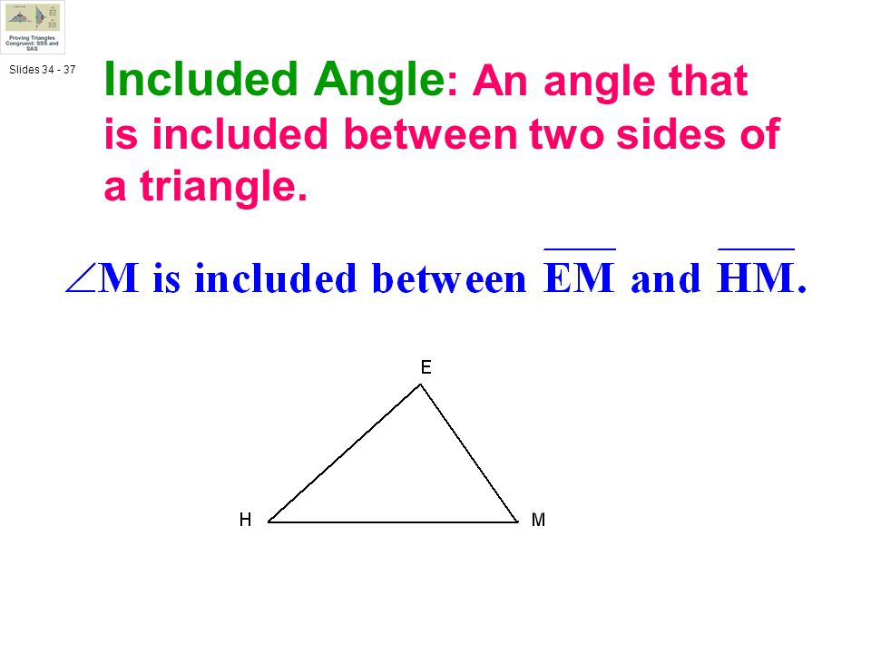 Included Angle: An angle that is included between two sides of a triangle.