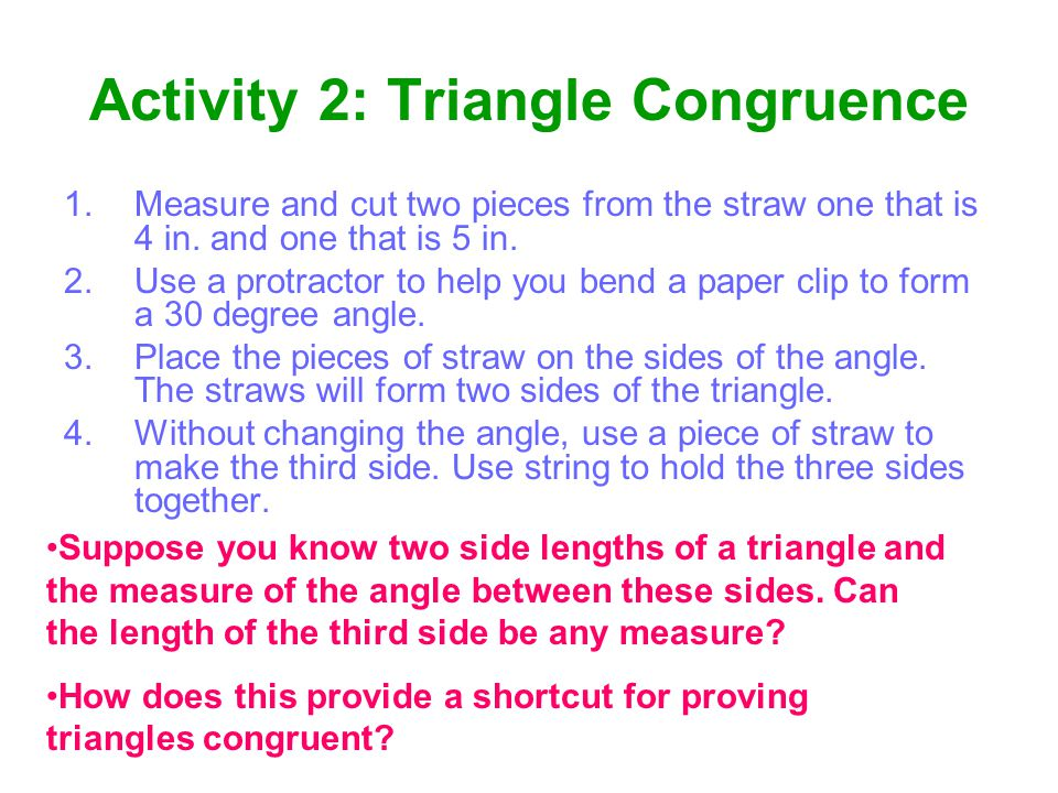 Activity 2: Triangle Congruence