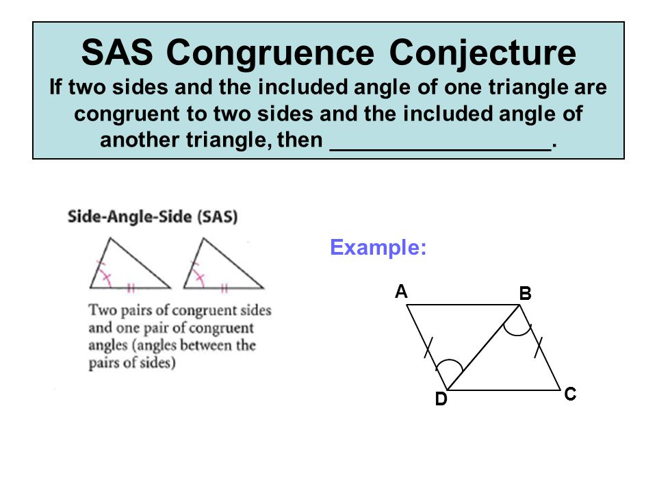 SAS Congruence Conjecture If two sides and the included angle of one triangle are congruent to two sides and the included angle of another triangle, then __________________.