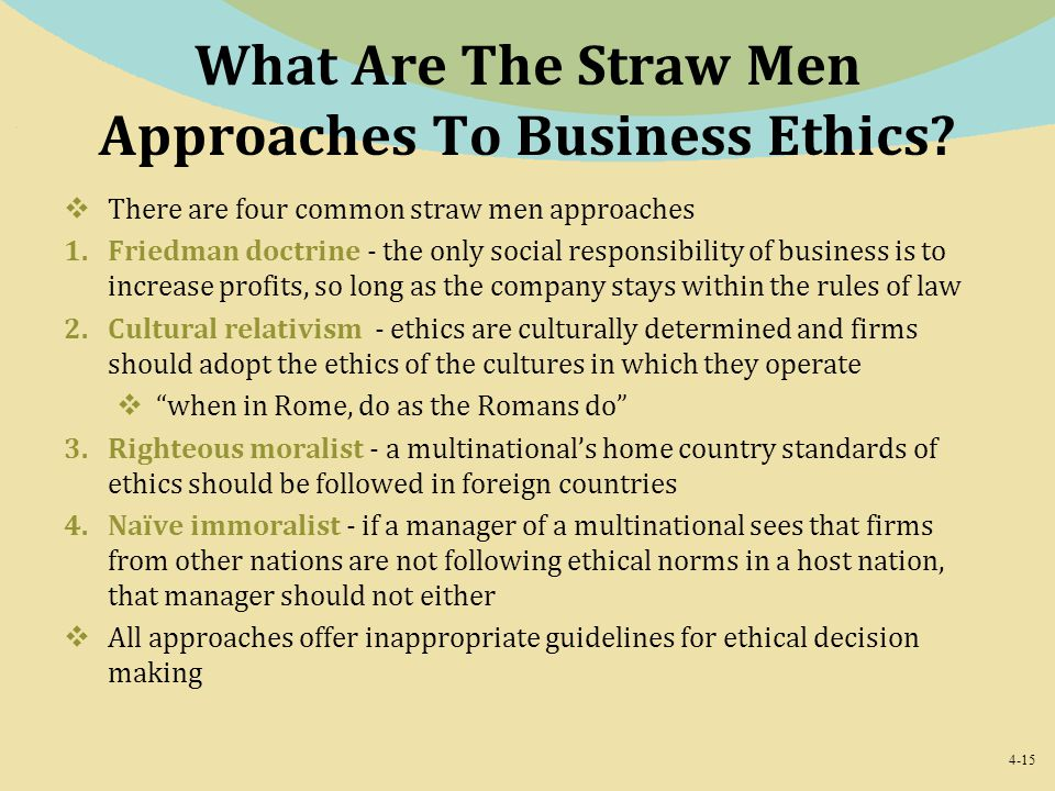 What Are The Straw Men Approaches To Business Ethics