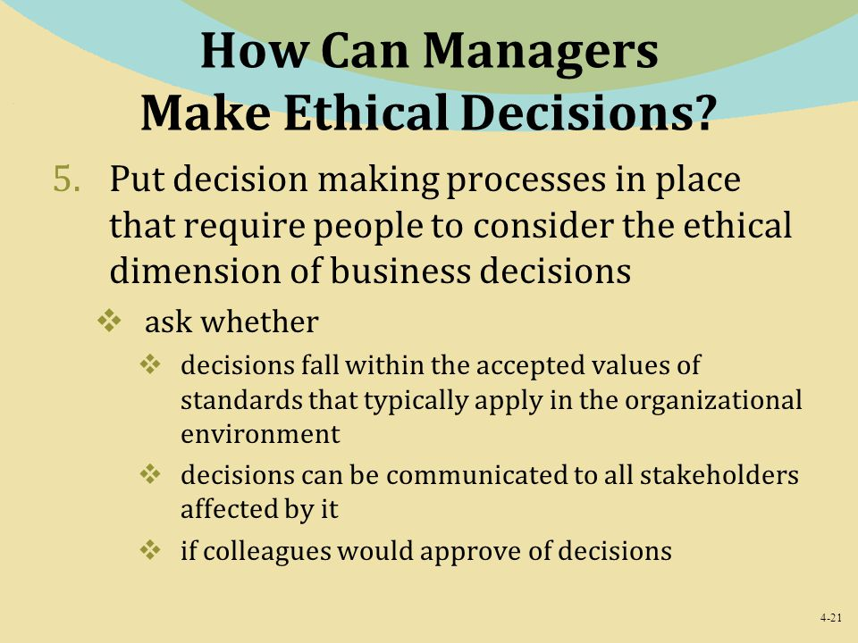 How Can Managers Make Ethical Decisions