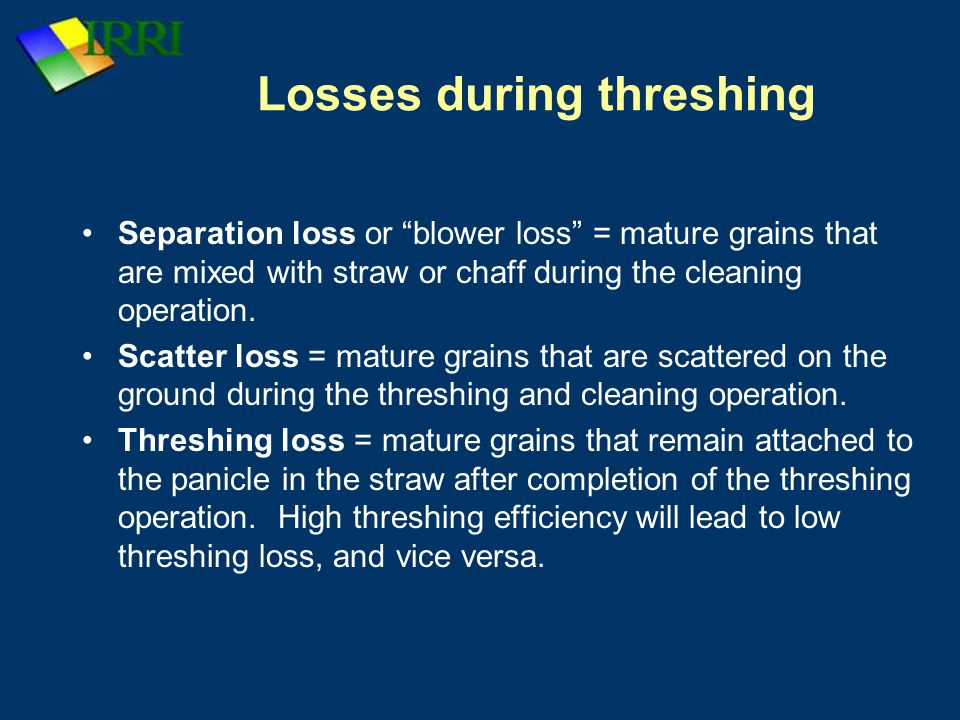 Losses during threshing