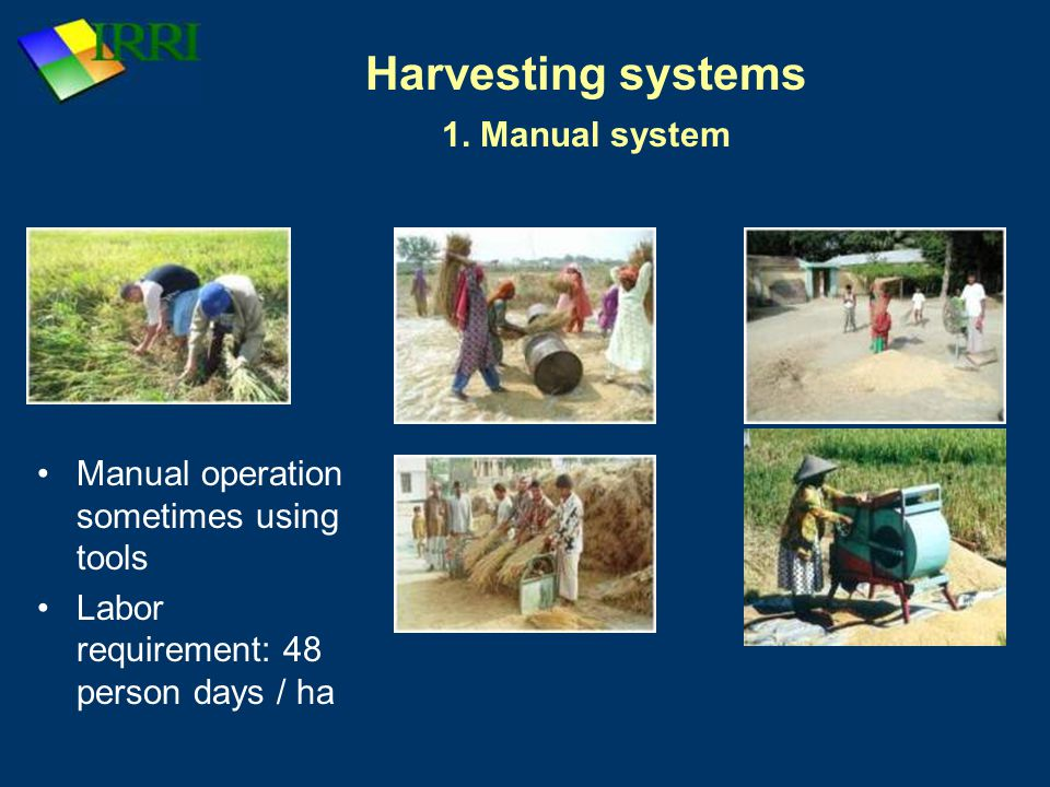 Harvesting systems 1. Manual system