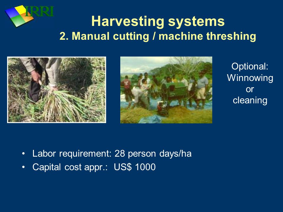 Harvesting systems 2. Manual cutting / machine threshing