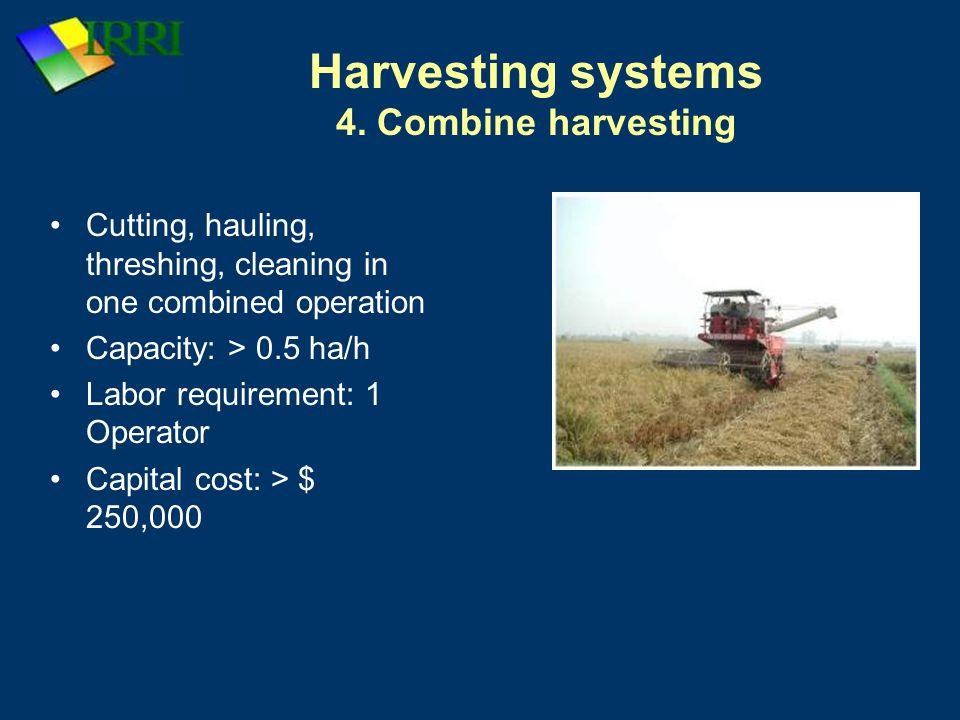 Harvesting systems 4. Combine harvesting