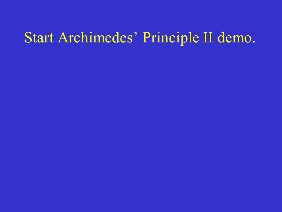 Start Archimedes' Principle II demo.