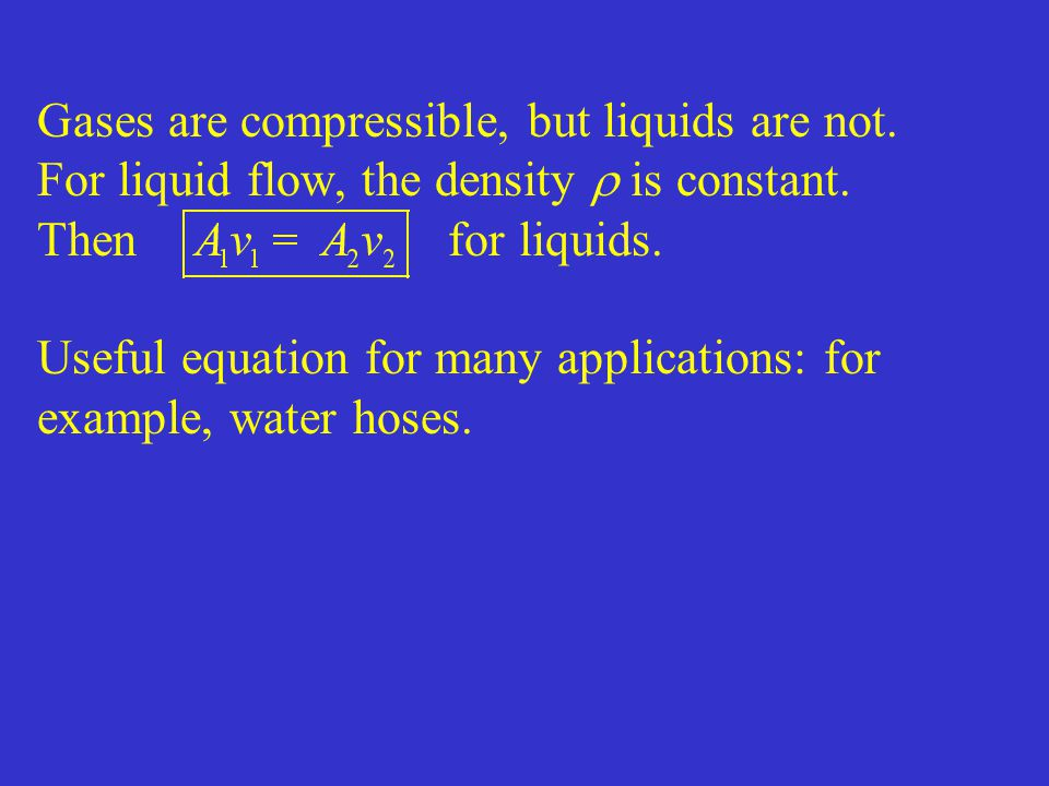 Gases are compressible, but liquids are not