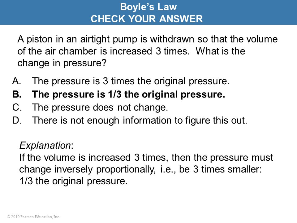 Boyle's Law CHECK YOUR ANSWER