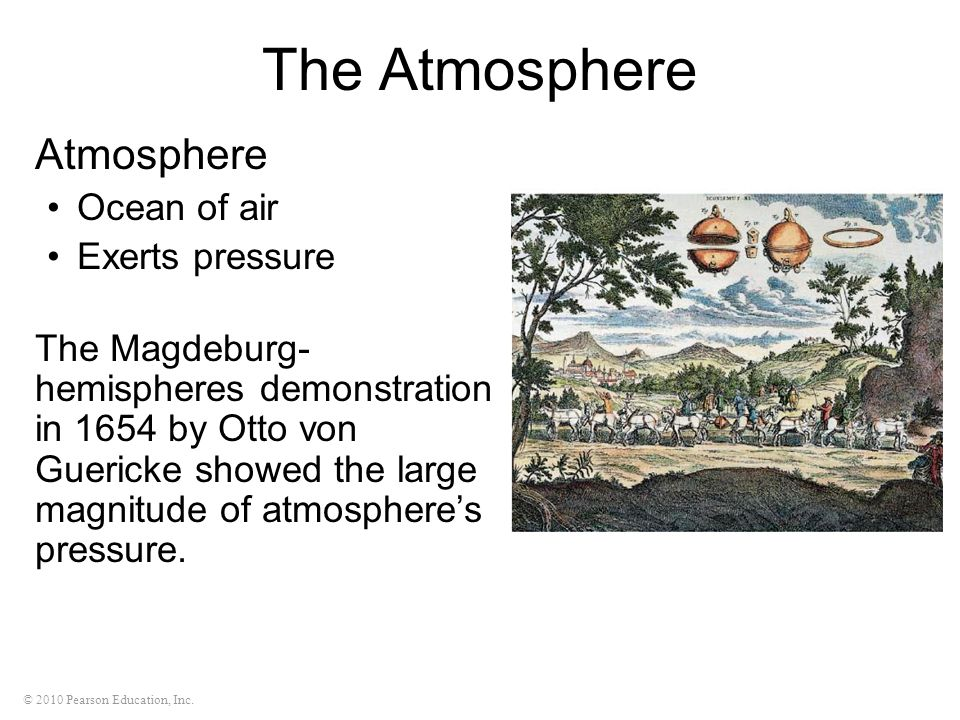 The Atmosphere Atmosphere Ocean of air Exerts pressure