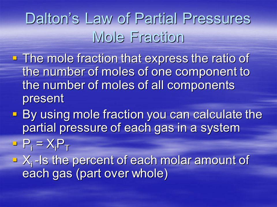 Dalton's Law of Partial Pressures Mole Fraction