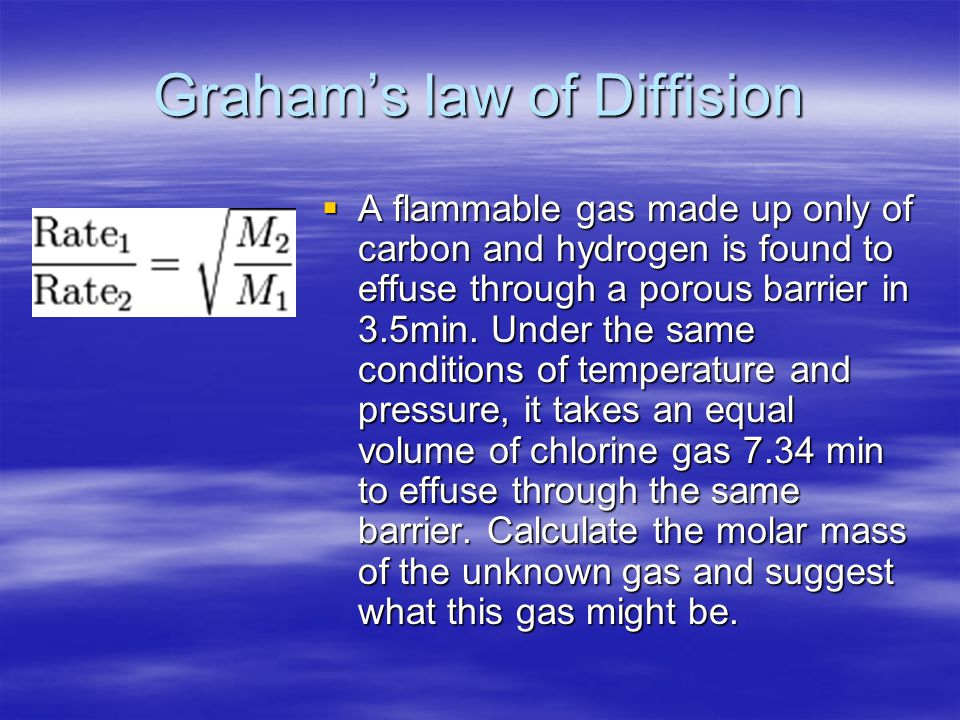Graham's law of Diffision