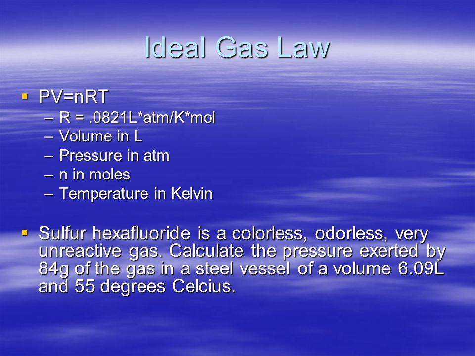Ideal Gas Law PV=nRT. R = .0821L*atm/K*mol. Volume in L. Pressure in atm. n in moles. Temperature in Kelvin.