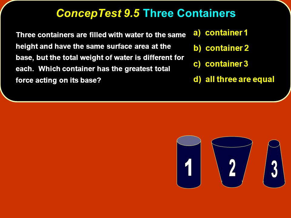ConcepTest 9.5 Three Containers