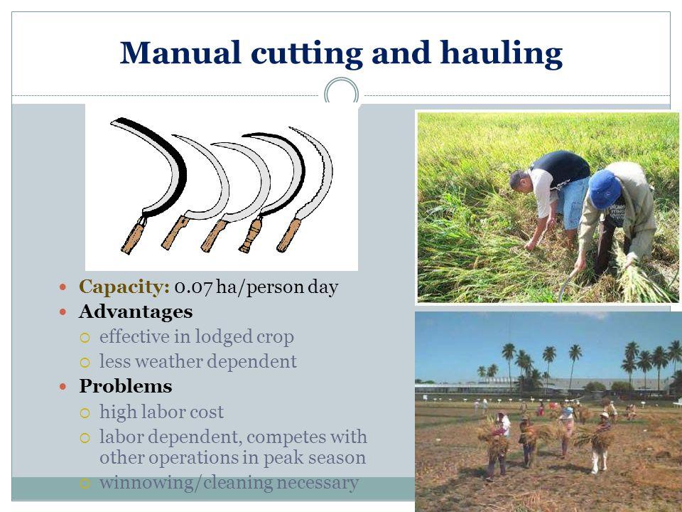 Manual cutting and hauling
