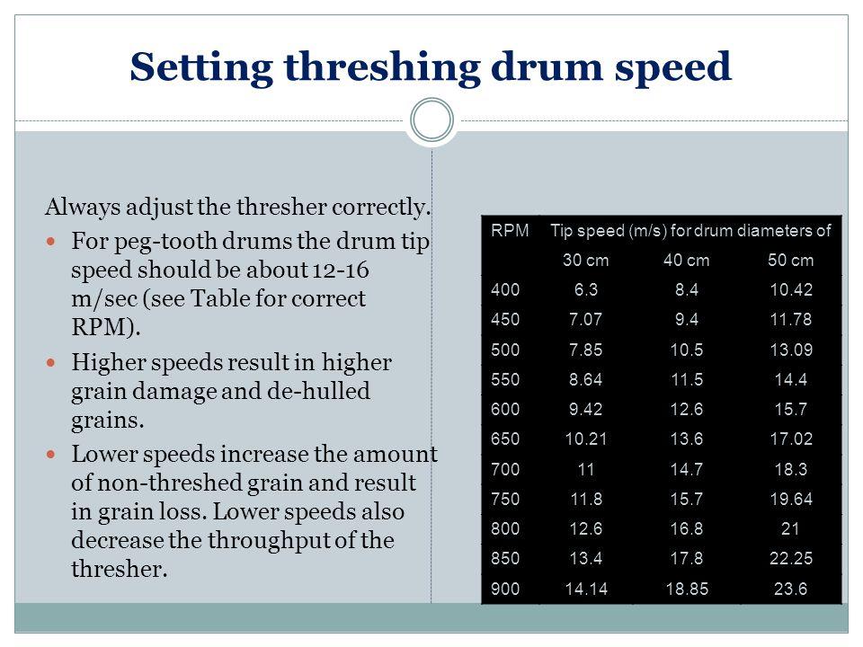 Setting threshing drum speed