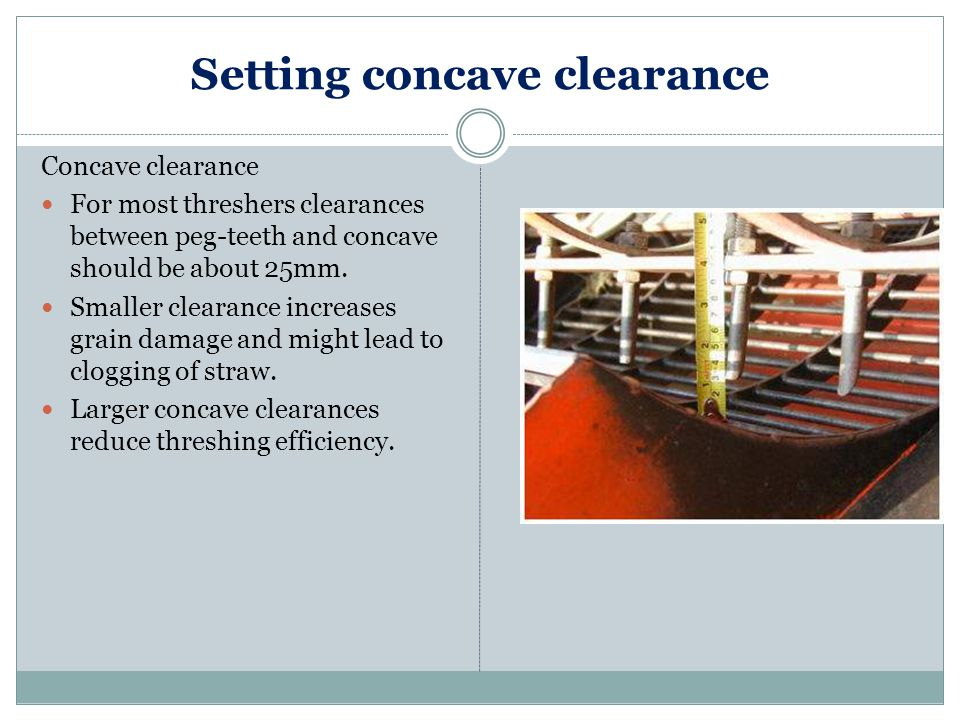 Setting concave clearance