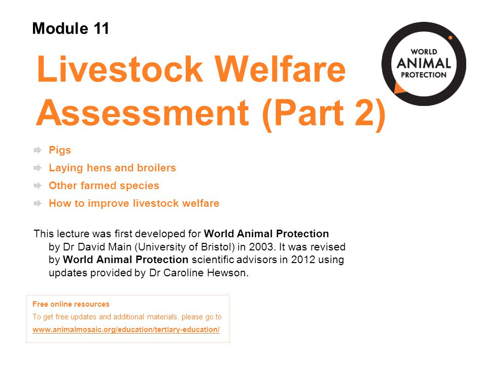 Livestock Welfare Assessment (Part 2)