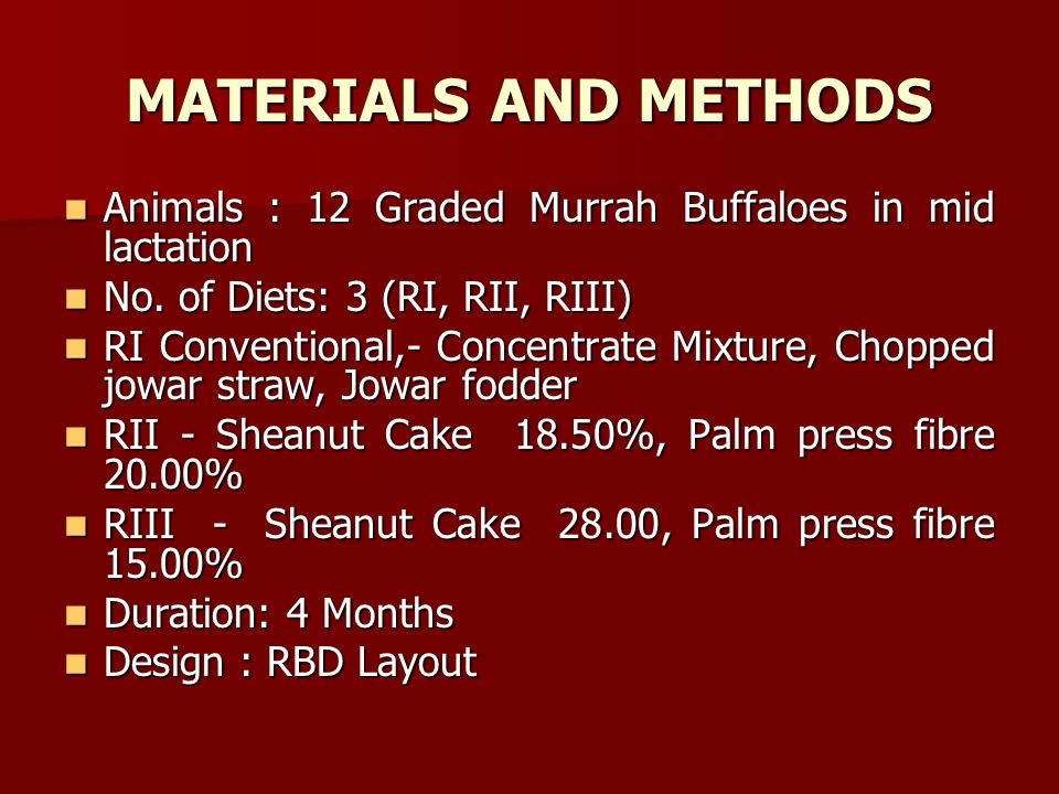 MATERIALS AND METHODS Animals : 12 Graded Murrah Buffaloes in mid lactation. No. of Diets: 3 (RI, RII, RIII)
