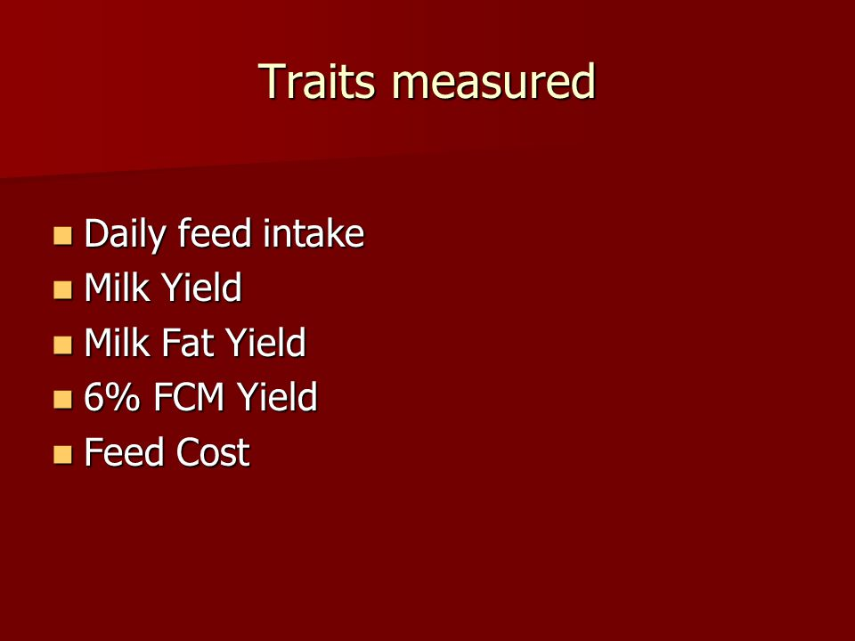 Traits measured Daily feed intake Milk Yield Milk Fat Yield