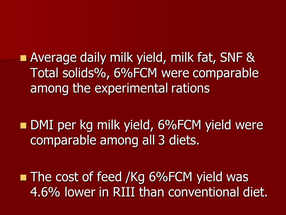 Average daily milk yield, milk fat, SNF & Total solids%, 6%FCM were comparable among the experimental rations