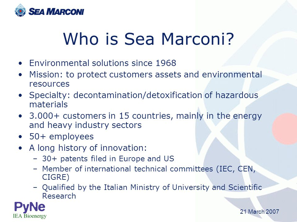 Who is Sea Marconi Environmental solutions since 1968