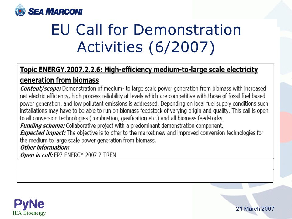 EU Call for Demonstration Activities (6/2007)