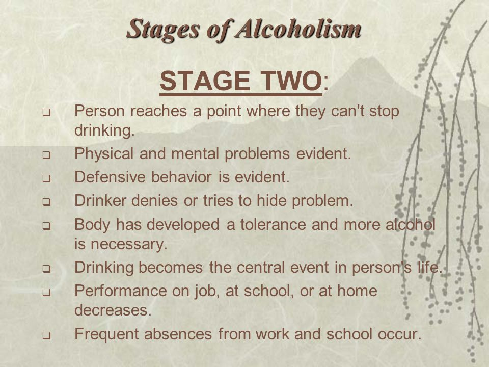 Stages of Alcoholism STAGE TWO: